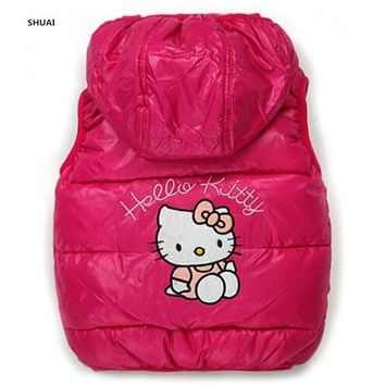 Trendy New Baby Girls Hello Kitty Vests Kids Cotton Cartoon Winter Jackets  Children Lovely Warm Coat Hooded Outwear Clothes Hot Sale AT_94_13