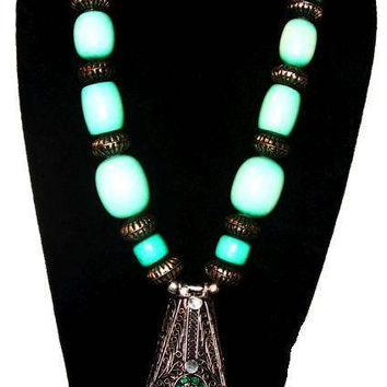 """Turquoise Pendant Necklace Glass & Silver Beads Statement HUGE 24"""" Vintage Fashion"""