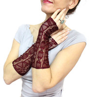 Burgundy lace gloves, Lace fingerless gloves mittens cuff, Steampunk gloves, Bellows Glove