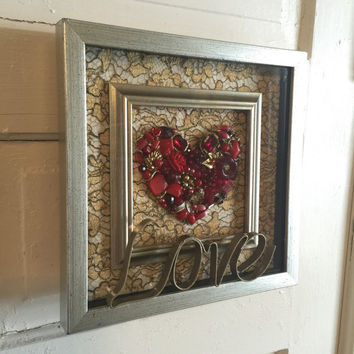 Framed Picture Jewelry Heart Red Say It With Love Inspirational Art Reclaimed Up cycled Repurposed Shadowbox Vintage ooak