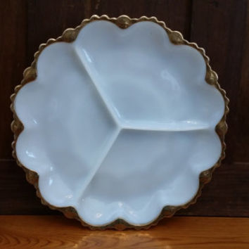 Vintage 1950s Fire King Anchor Hocking Milk Glass Divided Relish Dish