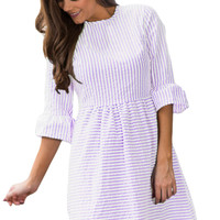 Purple White Stripe Flounce Sleeve Seersucker Dress