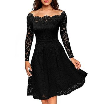 Robe Femme Vintage Floral Lace Dress Women Elegant Long Sleeve 50s 60s Retro Rockabilly Swing Wedding Party Dress