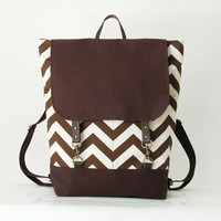Brown chevron backpack, laptop backpack, school bag, 2 front pockets, Design by BagyBags