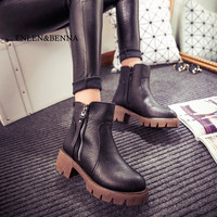 ENLEN&BENNA Autumn and winter women shoes vintage fashion ankle boots women boots thick heel leather boots female side