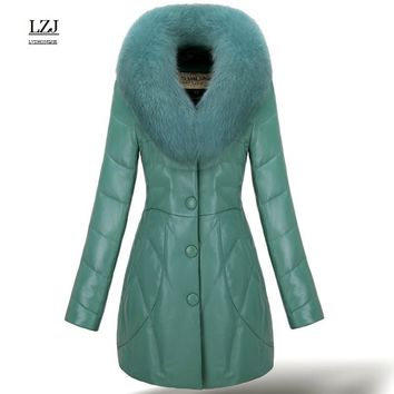 LZJ high quality fox fur collar leather down coat for women rex rabbit fur coat with luxury convertible size 3XL Special offer