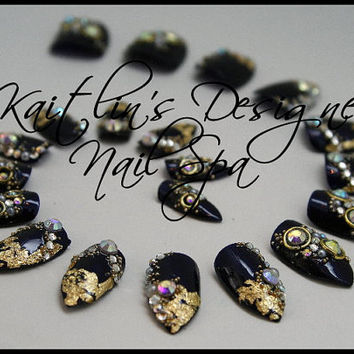 Navy & Gold Bling Stiletto Artificial Nail Art