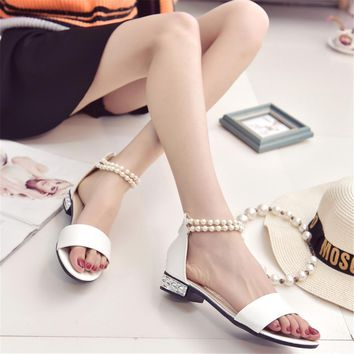 Bohemian Women Summer Sandles Simple Upper One Band Pearls Beading Women Low-heeled Sa