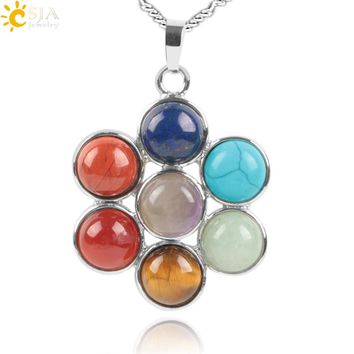 CSJA 7 Chakra Natural Stones Reiki Healing Charm Jewelry Flower of Life Pendant Necklace Yoga Jewellery Pendants Amulet E036