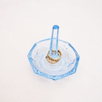 Vintage Art Deco Ring Holder, Depression Blue Glass Ring Holder , Floral Design Ring Holder, UK Seller