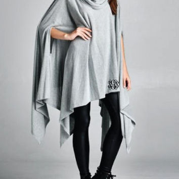 Monogrammed Pancho Top / Grey Cowl Neck Pancho / Grey Pancho / Soft Medium Weight Pancho