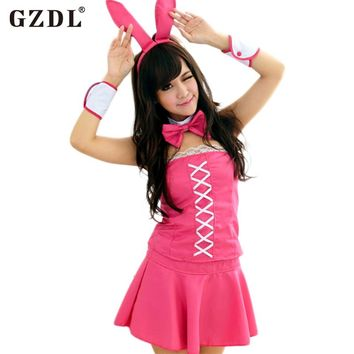 GZDL Women Bunny Rabbit Girl Mini Skirt Set Babydoll Nightwear Thong Sexy Lingerie Halloween Cosplay Costumes Pink SY4160