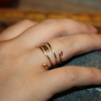 Versatile Flourish Swirl Copper Wire Wrap Ring - Coloured Gold Ring, Fashionable Trendy Jewelry, Hand Wrapped Ring, Bridesmaid Gift Ring