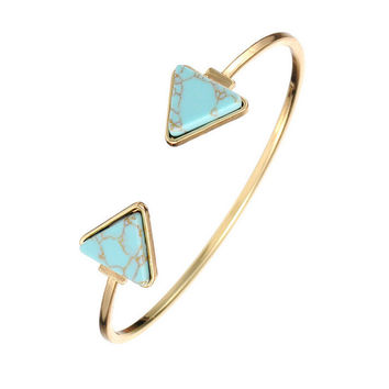 Casual Vintage Faux Turquoise Triangle Cuff Bracelet