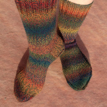 Hand Knitted Socks Thanksgivings colors with lace pattern for women, girl, boy, winter accessories, ready to ship, Christmas gift size 8-9