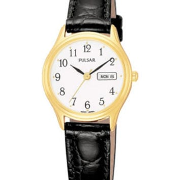 Pulsar Ladies Day/Date Watch - Gold-Tone - White Face - Black Leather Strap