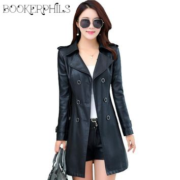 Double Breasted Medium-Long Leather Jacket Women 2016 New Autumn Plus Size 4XL Black/Red Women's Leather Coat