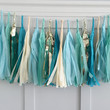 Blue Ivory and Gold Tissue Paper Tassel Pennant