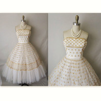 50's Wedding Dress // Vintage 1950's Strapless by TheVintageStudio
