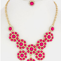 Its Only Make Believe Necklace Set - Fucshia