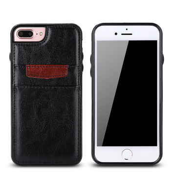 Luxury Leather Case For iPhone 7 7 Plus Back Cover For iPhone 6 6S Plus Cases Shockproof Phone Fundas With Card Slot Accessories