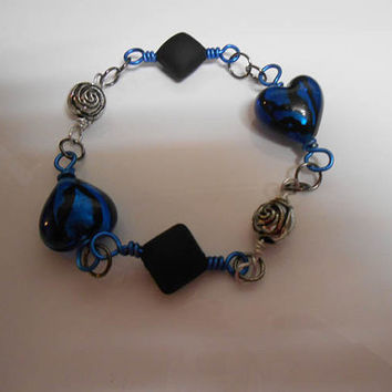 Once Upon A Time Fairytale Sapphire Blue heart Wire Wrapped rose Bracelet
