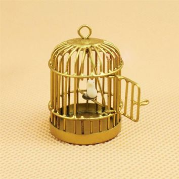 1:12 Scale Dollhouse Miniature Metal Bird Cage Brass With Sliding Door White Bird On The Swing Metal Play House Golden Birdcage