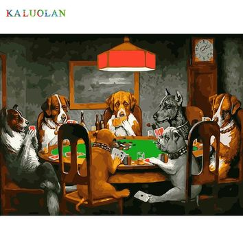 Frameless Pictures DIY Painting By Numbers Painting On Canvas Home Decor Wall Art Abstract Oil Painting Dog Playing Cards