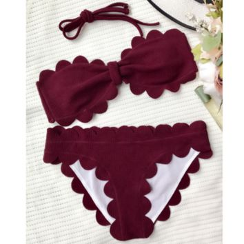 HOT SALE scalloped STRAPLESS PURE WINE RED TWO PIECE BIKINI BOWKNOT TYPE