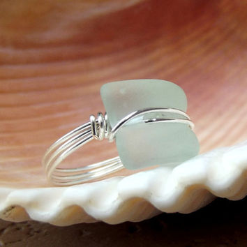 Seaglass Statement Ring:  Silver Wire Wrapped Aqua Seafoam Mint Green Curved Bottle Lip Beach Jewelry, Size 7