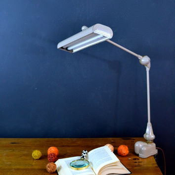 Vintage Industrial Art Deco Clamp Lamp, Art Specialty Co. Chicago Flexo Florescent Desk Lamp, Drafting Light