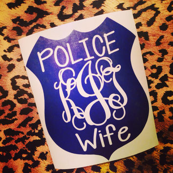 Police officers wife car decal sticker Car Monogram Decal Monogram Vinyl Decal Monogram Gift Monogram sticker Car sticker Vinyl Lettering