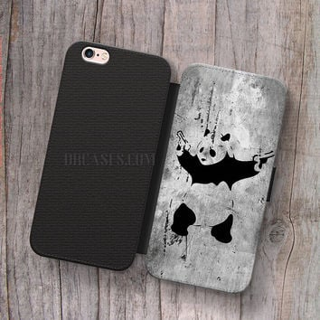 Wallet Leather Case for iPhone 4s 5s 5C SE 6S Plus Case, Samsung S3 S4 S5 S6 S7 Edge Note 3 4 5 panda with twin gun Cases