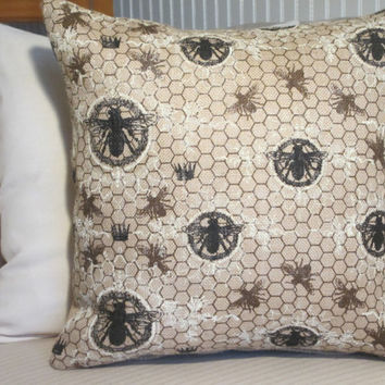 Burlap Pillow Cover, Paris Honey Bee Pillow, Honeycomb Shabby Chic Decor, Decorative Throw Pillow Cover, Accent Pillow,  18""