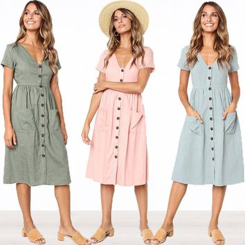 Summer Short Sleeve V Neck Button Down Swing Midi Dress Women 2018 Casual Style Solid Tunic With Pocket Beach Dresses