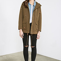 FOREVER 21 Hooded Canvas Utility Jacket Olive