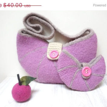 30% CLEARANCE Purple Felted bag handbag purse pouch with button boiled Wool crochet cable knit ooak tote envelope clutch orchid lilac pink c