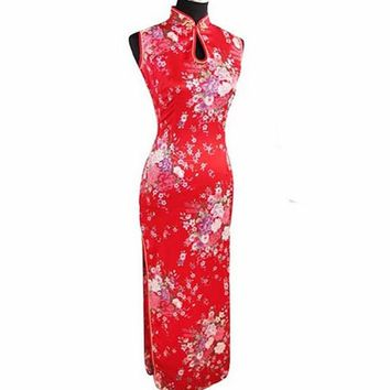 Red, White, Black, Blue Floral Collection Cheongsam One-piece Chinese Qipao Dress