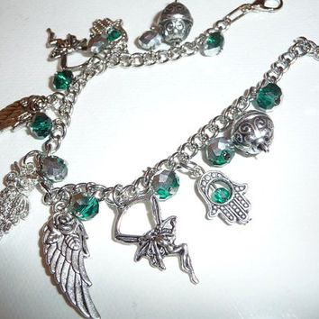 Charm bracelet, teal, mint, green, crystals, Hamsa, Miriam's hand, Fatima's hand, amulet, fairy, wings, owl, swarovsky