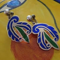 Taxco Enamel Sterling Silver Earrings, Blue & Green, Stylized Floral Dangles, Designer Signed SSC Sterling Taxco, 1940s