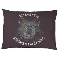 Abstract Psychedelic Dark Bulldog Drawing Large Dog Bed