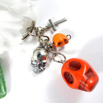 Orange Skull Keychain, Halloween KeyChain, Sugar Skull Key Chain, Day of the Dead Goth Keychain, Dia de Muertos Charm Keychain Boho Keychain