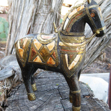 Exquisite Ornate RARE Vintage Carved Rosewood Horse Stallion  Brass Copper Bone or Shell Inlay GREAT