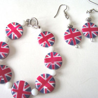 Union Jack Bracelet And Earring Set Mother Of Pearl Shell Beads British Fashion Jewelry