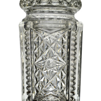 Pressed Glass Sauce or Pickle Jar Antique English Early 1900s