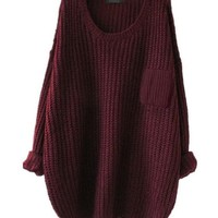 Retro Crew Neck Knit Sweater Loose Pullover Cardigan
