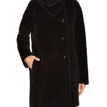 Cinzia Rocca Women's Wool Funnel Neck Mid-Length Coat - Black -