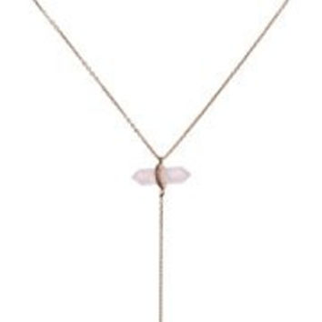 """Rebecca Minkoff Raw Rose Gold Crystal Y-Shaped Necklace, 18"""" + 2"""" Extender"""