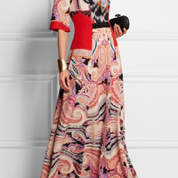 Etro | Embellished printed silk-jersey maxi dress | NET-A-PORTER.COM