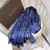 GUCCI 2018 autumn and winter new gold silk cotton classic wool jacquard shawl women's scarf blue